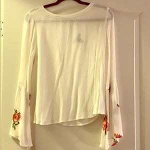 Forever21 bell sleeve top with floral pattern